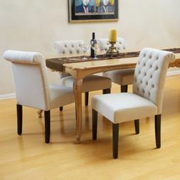 Elmerson Roll Back Upholstered Dining Chairs w/ Button Tufte