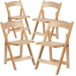 Flash Furniture 4 Pk. HERCULES Series Natural Wood Folding C