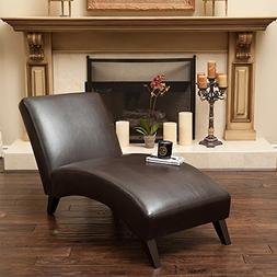 Great Deal Furniture Cleveland Brown Leather Curved Chaise L