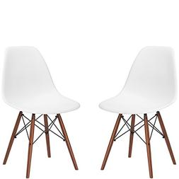 Poly and Bark Vortex Side Chair Walnut Legs, White, Set of 2