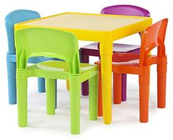 Tot Tutors Kids Plastic Table and 4 Chairs Set, Vibrant Colo