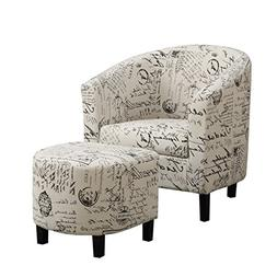 Bowery Hill Accent Chair with Ottoman in Vintage French