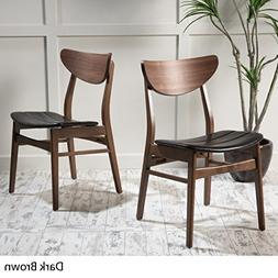 Adelade Dark Brown Leather/ Walnut Finish Mid Century Modern