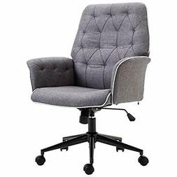 Adjustable Modern Linen Upholstered Office Chair With Lumbar