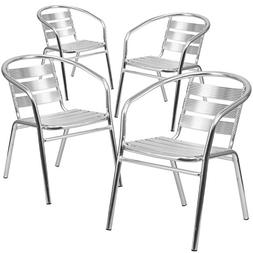 Flash Furniture Aluminum Restaurant Stack Chair Set Of 4 Dut
