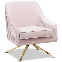 Baxton Studio Amaya Light Pink Velvet Gold Finished Base Lou
