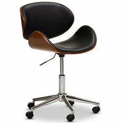 Baxton Studio Ambrosio Faux Leather Metal Office Chair in Bl