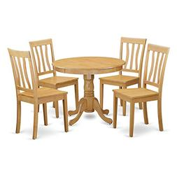 East West Furniture ANTI5-OAK-W 5-Piece Kitchen Table and Ch