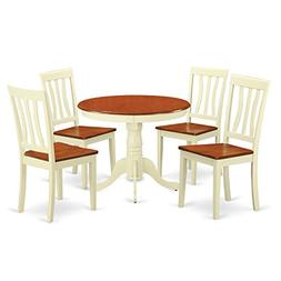 East West Furniture ANTI5-WHI-W 5-Piece Kitchen Table and Ch