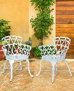 Antique Victorian Cast Aluminum Patio Dining Chairs - White