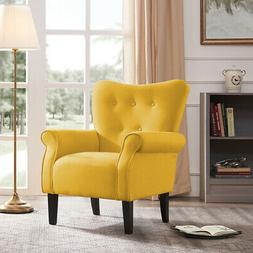 Arm Chair Accent Single Sofa Linen Fabric Upholstered Living