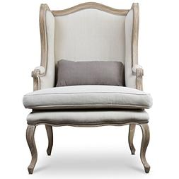 Baxton Studio Auvergne Wood Traditional French Accent Chair,