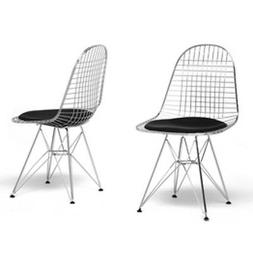 Avery Mid-century Modern Wire Chair With Black Cushion Set O