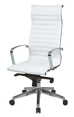 High Back Eco Leather Chair In White By Office Star Products