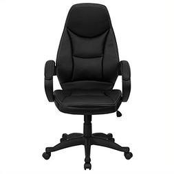 Flash Furniture High Back Leather Contemporary Chair - Black