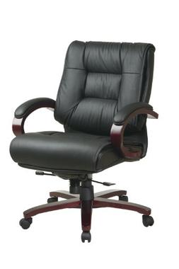 Office Star High Back Plush Leather Back and Seat with Delux