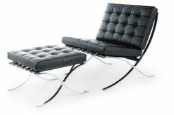 barcelona style lounge chair with ottoman top