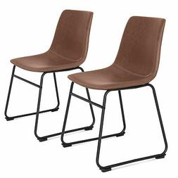 BCP Set of 2 Distressed Faux Leather Dining Chairs w/ Metal