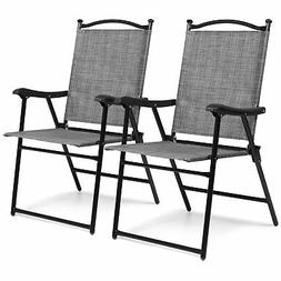 BCP Set of 2 Outdoor Portable Folding Sling Back Mesh Chairs