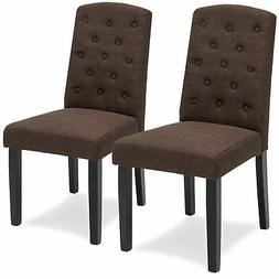 BCP Set of 2 Tufted Parsons Dining Chairs w/ Diamond Stitchi