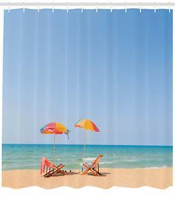 Beach Shower Curtain Chair Umbrella Relaxing Print for Bathr