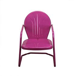 "34"" Berry Purple Retro Metal Outdoor Tulip Chair"