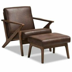 Baxton Studio Bianca Accent Arm Chair with Ottoman in Brown
