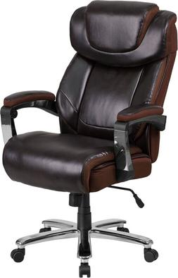 Big & Tall 500 Lb Capacity Brown Leather Executive Office Ch