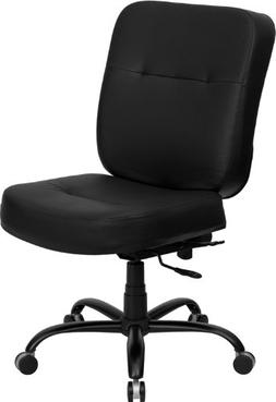 Big & Tall Black Leather Office Chair-LEA
