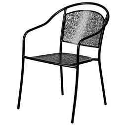 Flash Furniture Black Indoor-Outdoor Steel Patio Arm Chair w