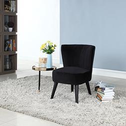 Black Traditional Living Room Plush Velvet Fabric Accent Cha