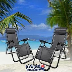 2Pcs Black Zero Gravity Patio Beach Chairs Outdoor Yard Fold