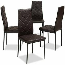 Baxton Studio Blaise Brown Faux Leather Dining Chair