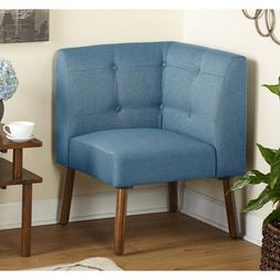 Blue Corner Chair Mid Century Seating Contemporary Fabric Wo