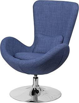 Flash Furniture Blue Fabric Egg Series Reception-Lounge-Side