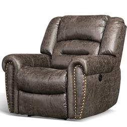 Bonded Leather Electric Power Recliner Chair w/Nails Decor T