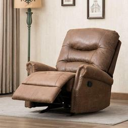 Rocker Recliner Chair Manual  Breathable Bonded Leather 1 Se