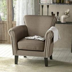 Brice Vintage Scroll Arm Studded Fabric Club Chair by
