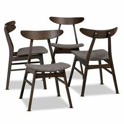 Baxton Studio Britte Dark Oak Wood Dining Chairs in Dark Gra
