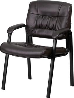 Brown Leather Guest / Reception Chair with Black Frame Finis