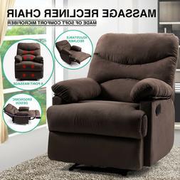 Brown Massage Heated Recliner Chair Lounge Sofa Microfiber E