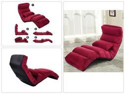 Costway Burgundy Folding Lazy Sofa Chair Stylish Sofa Couch
