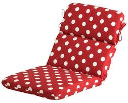 CC Home Furnishings Red White Dot Outdoor Patio Chair Seat B