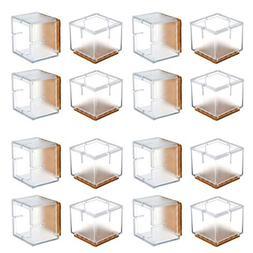 Chair Leg Floor Protectors, WarmHut 16pcs Transparent Clear