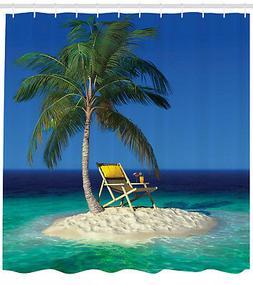Tropic Shower Curtain Chair under a Palm Tree Print for Bath