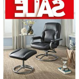 Chair With Ottoman Recliner Swivel Footrest Comfy Reading Bl