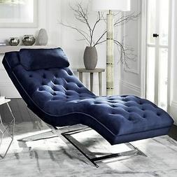 Chaise Lounge Chair Tufted Blue Velvet Chrome Base Modern Li