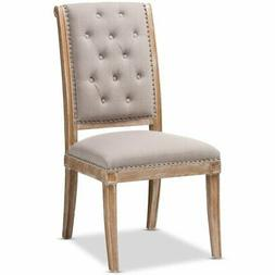 Baxton Studio Charmant Tufted Dining Side Chair in Beige and