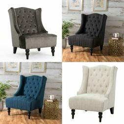 Christopher Knight Home Clarice Tall Wingback Tufted Fabric