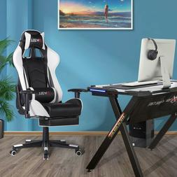 Computer Gaming Chair with Retractable Footrest Lumbar Massa